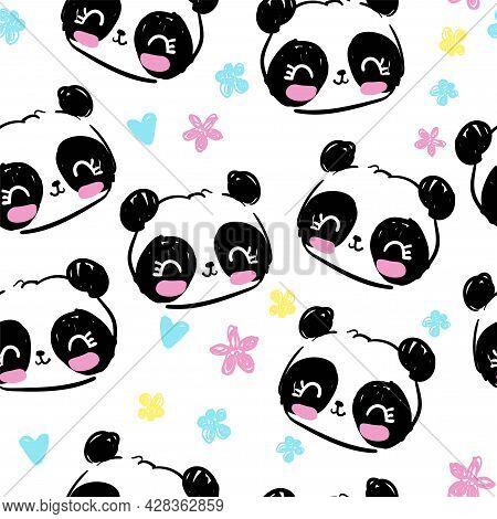 Hand Drawn Panda Bear With Flowers Seamless Pattern, Cute Print Design Background, Children Textile