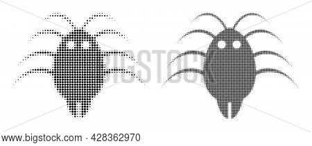 Pixelated Halftone Parasite Icon. Vector Halftone Concept Of Parasite Icon Designed Of Spheric Dots.