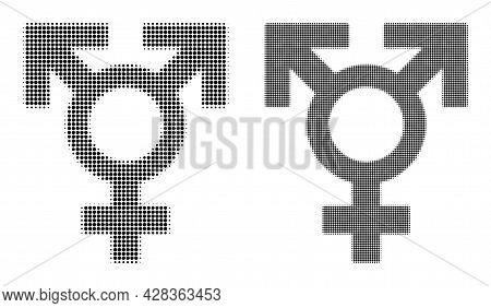 Pixelated Halftone Polyandry Sex Symbol Icon. Vector Halftone Mosaic Of Polyandry Sex Symbol Pictogr