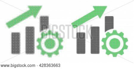 Dot Halftone Progress Chart Settings Icon. Vector Halftone Collage Of Progress Chart Settings Icon C