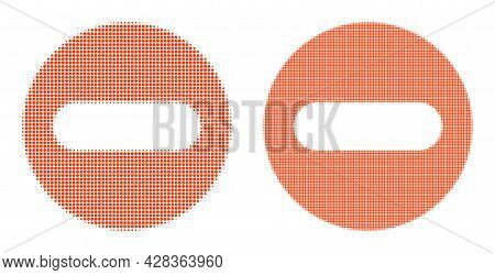 Pixel Halftone Remove Icon. Vector Halftone Mosaic Of Remove Icon Combined From Circle Elements.