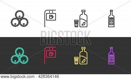 Set Line Wooden Barrels, Street Signboard With Bar, Vodka Pepper And Glass And Glass Bottle Of Vodka