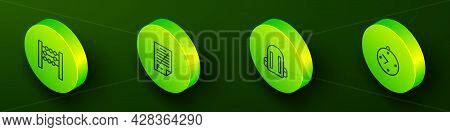 Set Isometric Line Abacus, Exam Paper With Incorrect Answers, School Backpack And Clock Icon. Vector