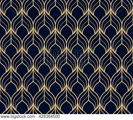 The Geometric Pattern With Wavy Lines. Seamless Vector Background. Gold And Dark Blue Texture. Simpl