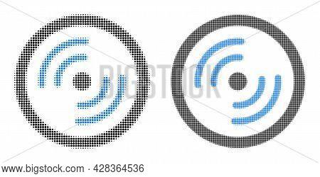 Pixelated Halftone Rotor Rotation Icon. Vector Halftone Mosaic Of Rotor Rotation Icon Composed Of Ro
