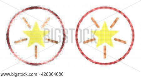 Pixel Halftone Rounded Shine Star Icon. Vector Halftone Collage Of Rounded Shine Star Icon Organized