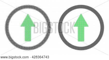 Dotted Halftone Rounded Up Arrow Icon. Vector Halftone Collage Of Rounded Up Arrow Icon Formed From