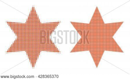 Pixelated Halftone Six Pointed Star Icon. Vector Halftone Concept Of Six Pointed Star Icon Construct