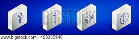 Set Isometric Line Lock Picks For Lock Picking, Crowbar, Key And Keyhole Icon. Vector