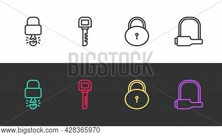 Set Line Key Broke Inside Of Padlock, , Lock And Bicycle On Black And White. Vector