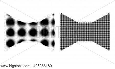 Dotted Halftone Tie Bow Icon. Vector Halftone Mosaic Of Tie Bow Symbol Constructed Of Circle Element
