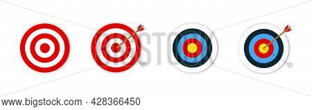 Target With Arrow. Archery With Target . Set Of Targets . Vector Illustration. Colection Of Shooting