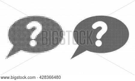 Pixelated Halftone Unknown Message Icon. Vector Halftone Composition Of Unknown Message Icon Formed