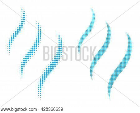Pixelated Halftone Vapour Smell Icon. Vector Halftone Composition Of Vapour Smell Icon Done Of Circl