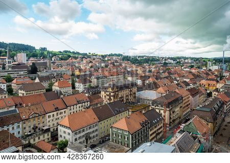 La-chaux-de-fonds, Switzerland - July 7th 2021: Historic Chessboard Structure Of The City Centre