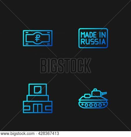 Set Line Military Tank, Mausoleum Of Lenin, Russian Ruble Banknote And Made. Gradient Color Icons. V