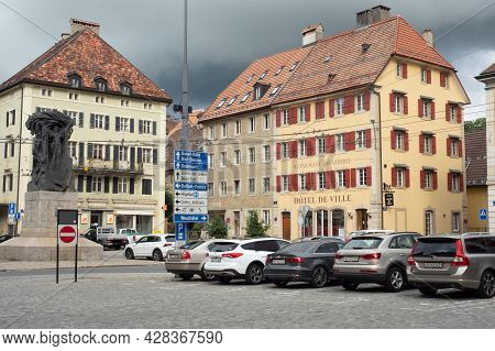 La-chaux-de-fonds, Switzerland - July 7th 2021: Square In The City Centre With Typical Architecture