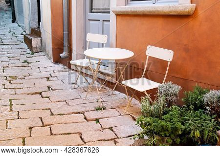 Chairs And A Table In Garden. Steel Chairs And A Table Standing In A Beautiful Garden At Sunny Day.