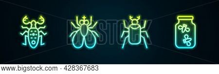 Set Line Beetle Deer, Insect Fly, Bug And Fireflies Bugs In A Jar. Glowing Neon Icon. Vector