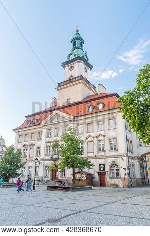 Jelenia Gora, Poland - June 2, 2021: Town Hall In Jelenia Gora At Market Square.