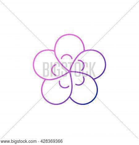Taiwanese Flower Outline Icon. Taiwan. Plum Blossom. Oriental Custom. Asian Item. Purple Gradient Sy