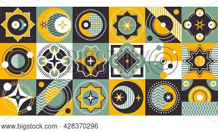 Abstract Printout. Creative Background With Colorful Shapes. Rounded Elements On Square Tile. Vector