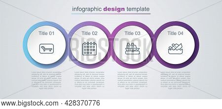 Set Line Sunbed And Umbrella, Calendar, Cruise Ship And Sinking Cruise. Business Infographic Templat