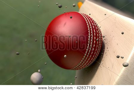 Cricket Ball Striking Bat With Particles