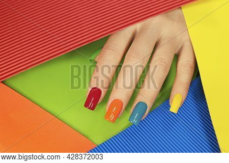 Multicolored Manicure On The Square Shape Of The Nails.