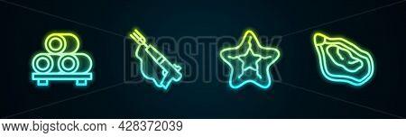 Set Line Sushi On Cutting Board, Fishing Harpoon, Starfish And Mussel. Glowing Neon Icon. Vector