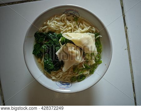 Semarang, 5 July 2021 - Mie Ayam Is Noodle Soup With Chicken, Dumplings, And Vegetables