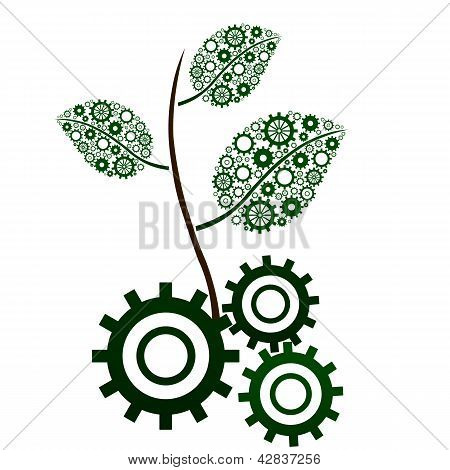 Green Leaf Branch with gears