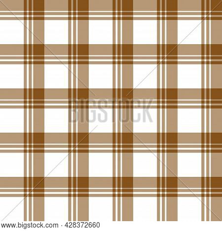 Classic Brown Plaid Seamless Repeating Checkered Patterns. On White Background. Illustration Abstrac