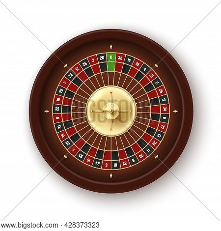 Top View Realistic Casino Roulette Vector Illustration. Gambling Wheel Betting Fortune Risk Game