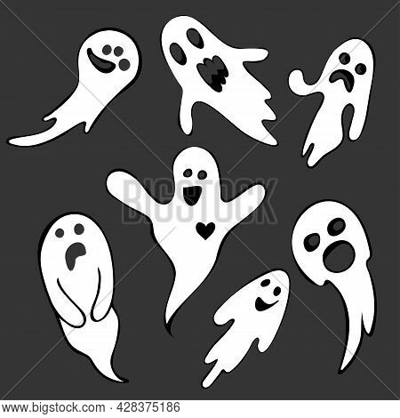 Spooky Halloween Ghost. A Flying Ghost With A Scary Face. A Ghostly Ghost In The Set.