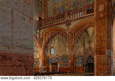 Strasbourg, France, June 24, 2021 : Saint-pierre-le-jeune Protestant Church Paintings. This Gothic B