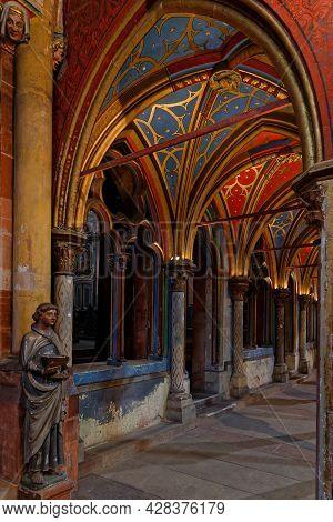 Strasbourg, France, June 24, 2021 : Saint-pierre-le-jeune Protestant Church. Gothic Building, With N