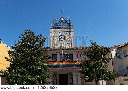 Brihuega, Spain - July 10, 2021:  Town Hall Building Decorated With Lgbtqia Pride Flag Colors, Brihu
