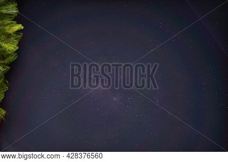 Night Starry Sky With Glowing Stars. Sky In Lights Of Sunset Dawn. Abstract Night Sky Stars Backgrou