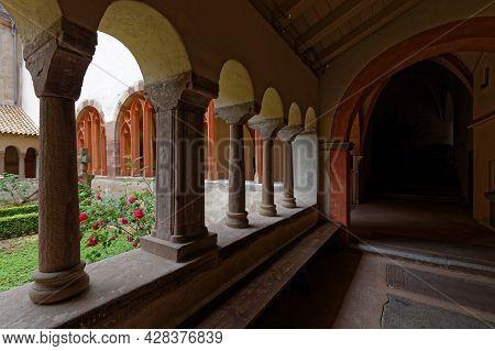 Strasbourg, France, June 24, 2021 : Inside The Arches Of Saint-pierre-le-jeune Protestant Church Clo