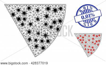 Mesh Polygonal Circle Sector Symbols Illustration In Outbreak Style, And Grunge Blue Round 0.01 Perc