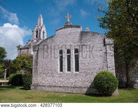 La Toja, Spain - July 24, 2021: Shrine Covered With Seashells At The La Toja Island, Ermida De San C
