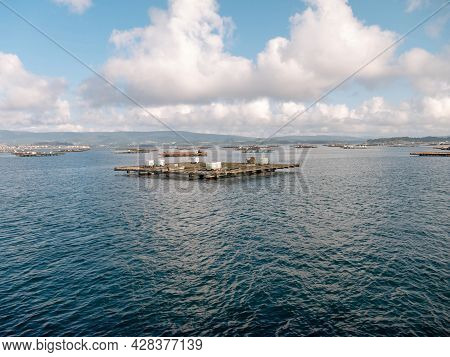 O Grove, Spain - July 24, 2021: Molluscs Farm Platform In The Arousa Estuary Near O Grove,pontevedra