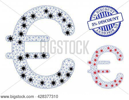 Mesh Polygonal Euro Symbol Symbols Illustration With Lockdown Style, And Distress Blue Round 5 Perce