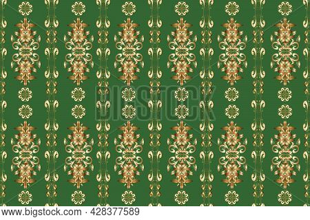 Seamless Pattern On Brown, Green And Beige Colors With Golden Elements. Classic Vintage Background.