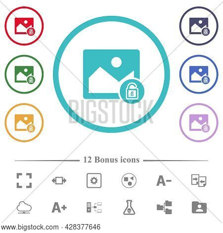 Unlocked Image Flat Color Icons In Circle Shape Outlines. 12 Bonus Icons Included.