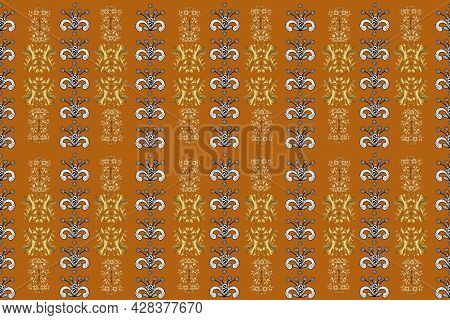 Traditional Orient Ornament. Seamless Classic Raster Orange, Black And White And Golden Pattern. Cla