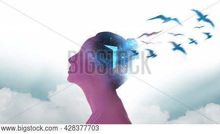 Mental Health, Freedom, Imagination And Creativity Concept. Silhouette Photo Of Woman Combined With