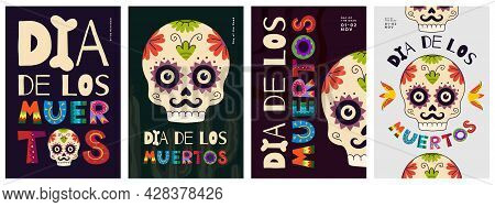 Mexican Day Of The Dead Poster Set. Dia De Los Muertos National Festival Greeting Cards With Colorfu