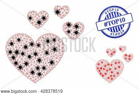 Mesh Polygonal Love Hearts Icons Illustration With Lockdown Style, And Scratched Blue Round Hashtag